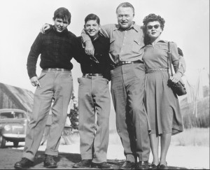 Lillian Ross, Ernest Hemingway and his sons, Gregory and Patrick, in Ketchum, Idaho, 1947. Credit: Mary Hemingway