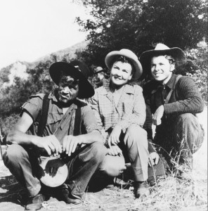"Lillian Ross, John Huston and Audie Murphy on the set of John Huston's ""The Red Badge of Courage,"" outside Los Angeles, 1950. Credit: Silvia Reinhardt"