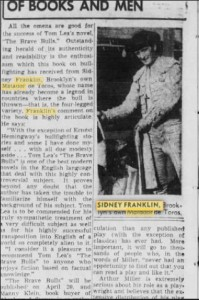 "On April 10, 1949, the Brooklyn Eagle published a story on Sidney Franklin, ""Brooklyn's own Matador de Toros."" Copyright © 2015 Newspapers.com"