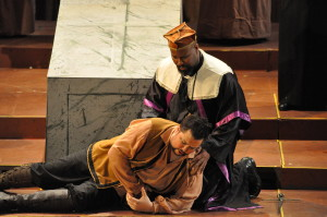 Raimondo (Isaac Grier) supports the dying Edgardo (Benjamin Sloman, left) who has stabbed himself in grief. Photo by George Schowerer