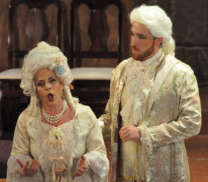 Manon (Sabrina Palladino, left) tells her brother Lescaut (Nathan Matticks, right) that she regrets having given up Des Grieux's love for Geronte's wealth.