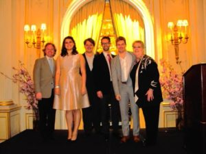 Pianist Michael Fennelly, Soprano Meryl Dominguez, Tenor Robert Watson, Baritone Shea Owens, Tenor Alasdair Kent, President Jane Shaulis Photo by Judy Pantano