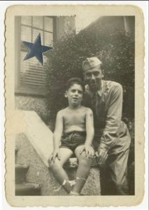 Elliott Gould with his father, who is in uniform, in 1944 (aprox.), across the street from 6801 Bay Parkway. Photo courtesy of Elliott Gould