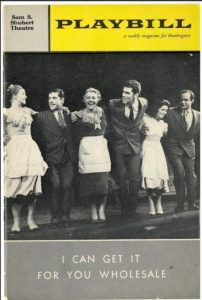 """I Can Get It For You Wholesale"" Playbill cover for 1962 Broadway production. Photo courtesy of Elliott Gould"
