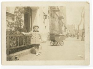 Elliott Gould with bassinet in background, in front of 6801 Bay Parkway, early-1940s. Photo courtesy of Elliott Gould